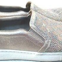Women's Size 8 M Rose Blush Skechers Memory Foam Slip on Blingy Tennis Shoes Photo