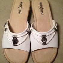 Women's Size 8 M White Leather Embellished Minnetonka Mule Sandals Wedge Euc Photo