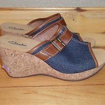 Women's Size 8 Nwob Clarks Elements Slip on Cork Denim Wedge Slip on Heel Photo