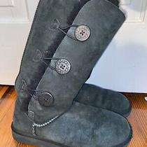 Women's Size 9 Black  Bailey Suede Triplet Ii Button Tall Ugg Boots Photo