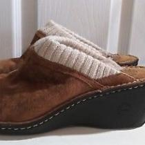 Women's Size 9 Ugg Brown Leather Suede Sheepskin Wedge Mules Shoes Knit Cuff Photo