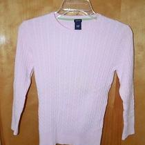 Women's Size S Gap Laight Pink Stretch Cable Knit Sweater Photo