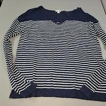 Women's Size S Small Gap Navy Blue White Stripe Pullover Sweater Top Photo