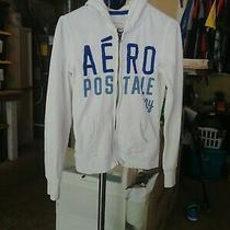 Women's Size Small White Aeropostale Ny Hooded Zip Sweatshirt in Euc Photo