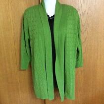 Womens Size Xl Classic Elements Lime Green Open Cardigan Tunic Sweater Photo