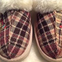 Women's Skechers Slip on Slippers Shoes Plaid Textile S Ize 7 Photo