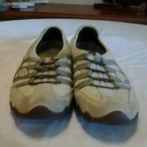 Women's Sketchers Athletic Shoes Tan/beige Leather Trim Size 8 Photo