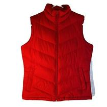 Women's Small 2-4 Lands End Red Puffy Goose Down Light Weight Winter Vest Photo