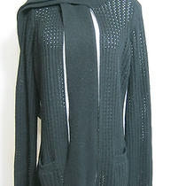 Women's Solid Black Sheer Sweater Cardigan Open Front Wool Cashmere Size S Small Photo