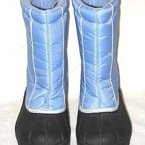 Women's  Sorel Winter Snow Boots Snow Command Black/ Blue Euc Size 5 Photo