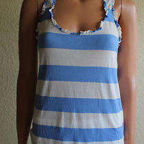 Women's Splendid Blue & White Striped Sleeveless Racerback Shirt Top Small Photo