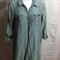 Women's Splendid Usa Long Shirt / Dress Silk Blend Green Size S Photo
