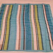 Women's Square Neckerchief Scarf - Aqua Black White Lime Green - New Photo