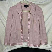 Women's St. John Blush Pink Silk Trim Knit Open Blazer Jacket Size 8 Photo