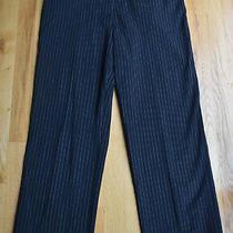Womens Style & Co Black Pinstripe Pants Faux Leather Trim (14) 28 Inseam Photo