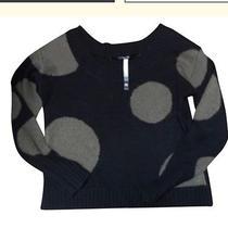 Women's Sweater Acrylic Black Kensie M Polka Dot and Scoop Neck Photo