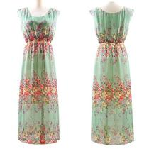 Women's Sweet Beach Skirt Boho High Waist Chiffon Floral Maxi Long Vest Dress  Photo