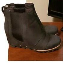 Womens Sz 8.5 Sorel Black Leather Lea Wedge Waterproof Booties Photo