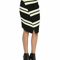 Women's Sz Xs a.l.c. Black/canary Yellow Clift Stripe Faux Wrap Skirt Photo