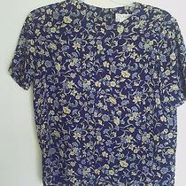 Women's Talbots Blue Floral  Short  Sleeve Top  Shirt  Sz 12p Photo
