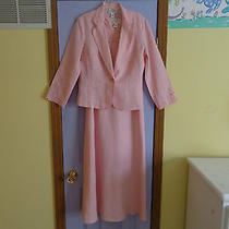 Women's Talbots Long  Pink Linen  Dress With Jacket - Size 8-  Never Worn Photo