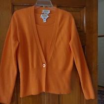 Women's Talbots Orange Cashmere Cardigan Set - M- Never Worn Photo
