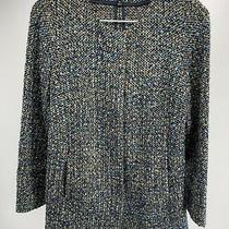 Women's Talbots Petites Woven Italian Fabric Jacket Blue/turquoise/tan Size 4p Photo