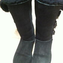 Women's Tall Bailey Button Triplet Ugg Boot Us Size 7 Black S/n 1873 Photo