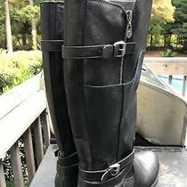 Womens Tall Black Riding Boots Faux Leather Size 9.5 G by Guess Harson Zip Up Photo