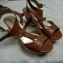 Womens Tan Platform Sandals 4 In. Heel by Guess Size 9-1/2 M (Ar-6) Photo