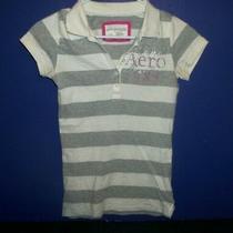 Women's/teen's White & Gray Striped Knit Shirt - Aeropostale - Sz S/p Photo
