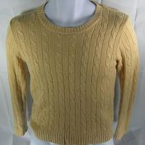 Women's the Limited Silk Cashmere Cable Knit Sweater Medium Crewneck Yellow Photo