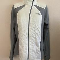 Women's the North Face Primaloft Light Weight Jacket White & Gray W/ Yellow Sz M Photo