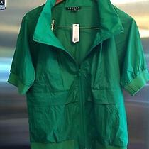 Women's Theory Bright Green Nylon Bomber Jacket Size M Nwt Photo