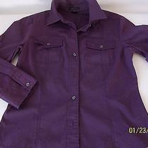 Women's Theorypurple Cotton Button Front Linen/cotton Szm  Photo