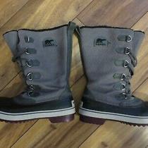 Women's Tivoli Sorel High Boot Waterproof Size 9.5 Gray on Black Nl 1907 052 Photo
