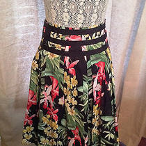 Women's Tommy Bahama a Line Floral Skirt Size 8 Like New Black/red/yellow Photo
