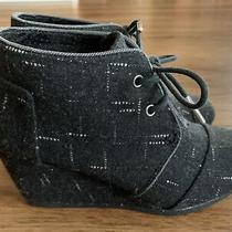 Womens Toms Size 6 Black Speckled Print Wedge Shoe Euc Photo