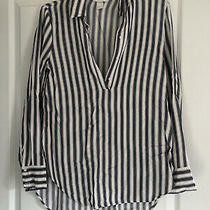 Womens Top Blue White & Pink Stripe Loose Fit Size 10 h&m Soft Loose Fit Photo