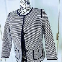 Women's Top/jacket Sz6p Black and White Stripes Blazer Button Down 2 Office Work Photo