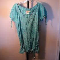 Women's Top Roxy Blue Peasant Xl Junior's Cotton Shirt Tie Sleeves (Bx004) Photo