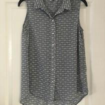 Womens Top/ Shirt Blue & White Tropical Print h&m Size 10 Long Length Photo