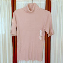 Women's Top Sweater Design History Knit T-Neck Turtle Ss Po Dusty Rose Pink Xl Photo