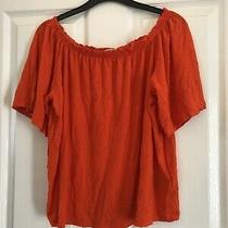 Womens Top/ T Shirt Bright Orange Peasant Style h&m Size S Loose Fit Photo