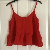 Womens Top/ Vest Red Peplum Style Cropped Topshop Size 8 Photo