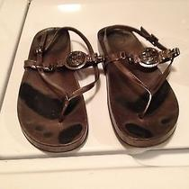 Women's Tory Burch Size 7 Copper Metallic Sandals - Worn but Trendy  Photo