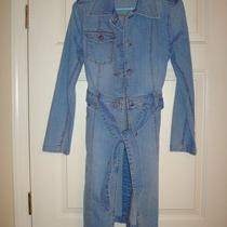 Women's Trench Coat - Long Denim Jean Jacket. Express Size 1 / 2 S Button Tie Photo