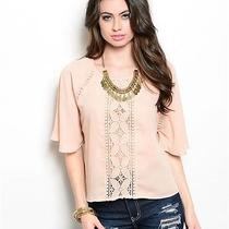 Women's Trendy Blush Polyester Blouse With Lace Photo