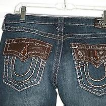 Women's True Religion Jeans Ricky Seat 28 Pink Stitching Bling Buttons 32 X 33 Photo