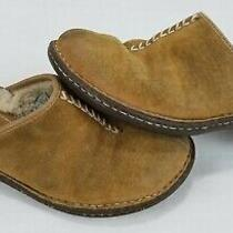 Women's Ugg Australia Comfort Slip-on Shoes Slides Brown Leather Sheepskin 8 Photo